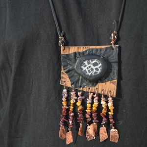 Septarian Leather Primitive Tribal Pendant Mookite